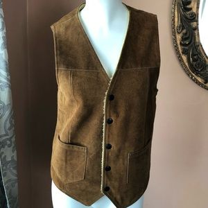 Vintage leather vest men's/women's w/Sherpa lining